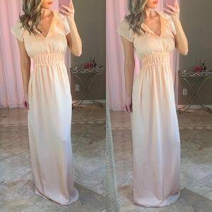 New Zara Smocked V Neck Flutter Peach Maxi Dress